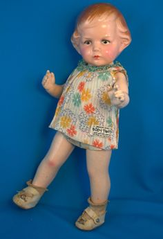 "1928 Amberg ""It"" Girl Clara Bow Antique Doll w Trunk Stuffed w Labeled Clothes   eBay"