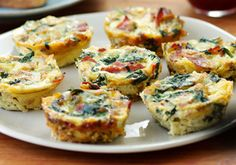 Mini egg frittata with caramelized onions, bacon & spinach
