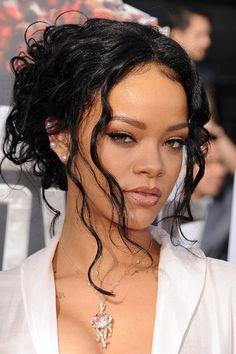 Rihanna Loose Bun Hairstyle