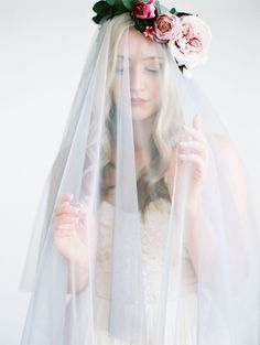 Ethereal gray bridal veil with flower crown by Love Sparkle Pretty. Photo by Mallory Dawn Ethereal gray bridal veil with flower crown by Love Sparkle Pretty. Photo by Mallory Dawn Boho Bridal Hair, Bridal Style, Boho Wedding, Floral Wedding, Bridal Jewelry, Bridal Veils, Wedding Veils, Wedding Ideas, Wedding Dresses