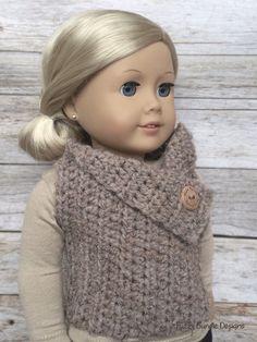 CROCHET PATTERN  18 inch Doll Almond Button Vest by FuzzyBundle