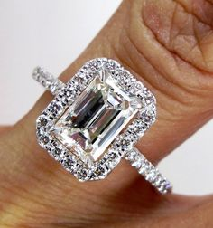 GIA ...2.01ct Estate EMERALD cut Diamond Solitaire Engagement Pave Ring, Anniversary Ring , Wedding Band in Platinum