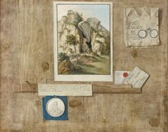 French School, circa 1700 A TROMPE L'ŒIL WITH A PAINTING AND OTHER PAPER ITEMS PINNED TO A WOODEN WALL Estimate  6,000 — 8,000  GBP  LOT SOLD. 7,500 GBP (Hammer Price with Buyer's Premium)