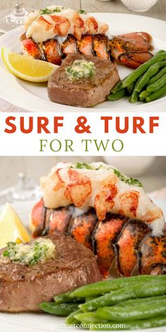 Beef Bourguignon for TwoSurf and Turf Dinner for Two The ingredient list for Surf and Turf is simple: just the steak, lobster tail and an Surf And Turf, Lchf, Steak And Lobster Dinner, Buffet, Lobster Recipes, Seafood Recipes, Compound Butter, Lobster Tails, Recipe Instructions