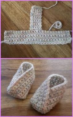 Crochet Baby Booties Crochet Baby Kimono Slipper Booties Free Pattern - Crochet Baby Kimono Slipper Booties Pattern: Crochet Kimono Shoes for babies and adults with one free pattern available Crochet Baby Mittens, Crochet Baby Blanket Beginner, Crochet Socks, Baby Knitting, Diy Crochet, Free Knitting, Crochet Ideas, Crochet Baby Stuff, Crochet Stitch