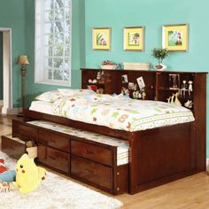 Furniture Of America Percius Cherry Captain Bed With Trundle And Bookcase…