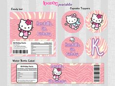 HELLO KITTY Mini Pack: Candy Bar Wrapper - Water Bottle Label - Cupcake Toppers. $7.00, via Etsy.