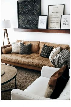 Shelf behind couch, shelves over couch, living room wall decor ideas abov. Living Room Decor Cozy, My Living Room, Living Room Furniture, Small Living, Decorating A Large Wall In Living Room, Modern Living, Shelf Ideas For Living Room, Living Room Wall Decor Ideas Above Couch, Living Room Storage