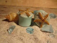 """Pair of Real Starfish on Seafoam Green Plugs with Real Beach Sand - Handmade Girly Gauges - Size 2g, 0g, 00g, 7/16"""", 1/2"""", 9/16"""", 5/8"""", 3/4"""" on Etsy, $25.00"""