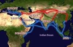 Silk Route  Q: on a map of Asia , find and draw the sea and land links of the textile trade from India to Central Asia , West Asia and Southeast Asia  A: The Silk Road extending from Southern Europe through Arabia, Somalia, Egypt, Persia, Pakistan, India, Bangladesh, Java, and Vietnam until it reaches China. Land routes are red, water routes are blue.  http://www.notemonk.com/qa/question/243/1..on.a.map.of.Asia.,.find.and.draw.the.sea.and.la/
