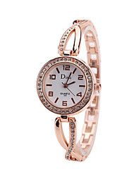 Women's Bracelet Watch Cubic Zirconia Casual Elegant Rose Gold Alloy Chinese Quartz Rose Gold Golden+White Casual Watch Imitation Diamond 1 pc Analog One Year Battery Life