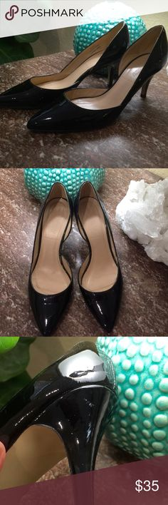"""J. Crew Valentina Black Patent Pumps From J. Crew:  """"Fit true to size.  Patent leather upper.  Leather lining.  2 3/4"""" heel.  Made in Italy.""""  Small scuffs on left heel, otherwise excellent condition. Offers through button please. No trades. J. Crew Shoes"""