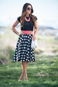 A-Line Skirt black and white polka dot with pink wide belt and necklace