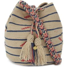GUANABANA Wayuu medium cross-body bag ($150) ❤ liked on Polyvore featuring bags, handbags, shoulder bags, blue and pink, pink handbags, crochet purse, blue handbags, crossbody purse and brown handbags