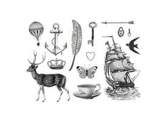 vintage whimsy- tattoo pack- 14 temporary tattoos from vintage illustrations - mothers day