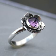Sterling Silver and Amethyst Lotus Cocktail Ring