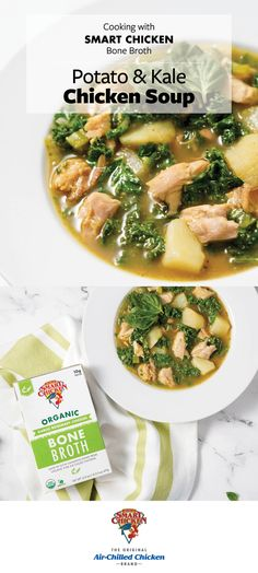 This hearty soup combines fresh vegetables, pesto, seared boneless thighs and flavorful Smart Chicken bone both making it both filling and nourishing. Good Healthy Recipes, Diabetic Recipes, Great Recipes, Healthy Snacks, Favorite Recipes, Snacks Recipes, Dinner Recipes, Cooking Recipes, Vegetable Soup Recipes