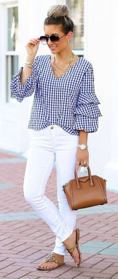 Blue gingham layered sleeve waist grazing blouse with white high waist denim, taupe suede chunky heel sandals ( and a small brown vegan leather tote. Wearing your hair up in loose pinned curls with small barrel spirals in your bangs and side layers. Mode Outfits, Casual Outfits, Fashion Outfits, Womens Fashion, Summer Office Outfits, Spring Outfits, Summer Outfit, Summer Office Style, Dress Summer