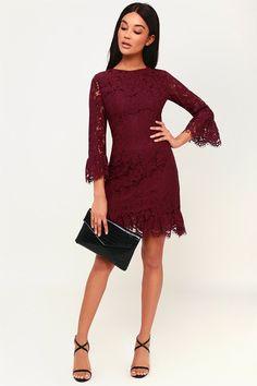 b4bbed067b16527 Flair-est of Them All Plum Purple Lace Flounce Sleeve Dress. Фиолетовое  КружевоДекольтеШикарное ПлатьеКружевное ...
