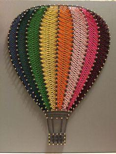 Hot air balloon string item no. hot air balloon string item no. String Art Balloons, String Art Diy, String Crafts, String Art Templates, String Art Patterns, String Art Tutorials, Video Tutorials, Arte Linear, Diy And Crafts
