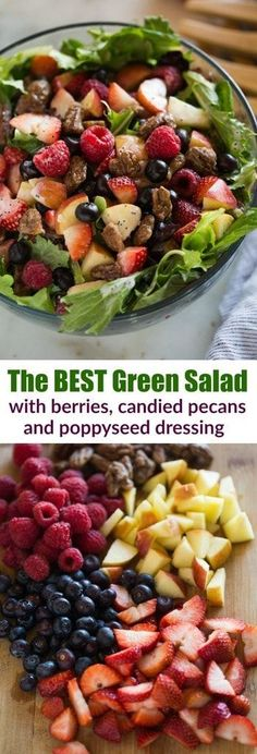 This Mixed Green Salad with Berries is to DIE for! A bed of mixed green lettuce topped with strawberries, blueberries, raspberries, candied pecans, feta cheese and a creamy poppyseed dressing. #salad #candiedpecans #poppyseeddressing #berries #easy #healthy #fruit #spinach #summer #spring #dressing  via @betrfromscratch #fruitsaladhealthy