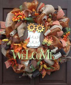 Owl wreath Fall wreath Welcome wreath by KarensCustomWreaths, $87.00