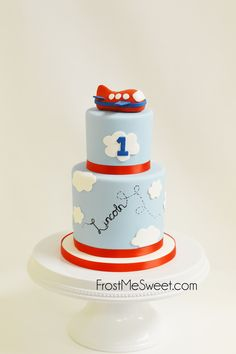 Airplane cake first birthday cake Airplane Baby Shower Cake, Airplane Birthday Cakes, Themed Birthday Cakes, Birthday Cake Smash, Airplane Cakes, Airplane Party, 2nd Birthday, Time Flies Birthday, Planes Cake