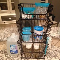So today I wanted to share a small, but significantly useful little space that I created to house our bottle prepping items for little M.