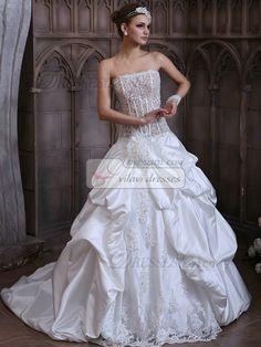 $252.59 Voluminous Princess Taffeta Strapless Court Train Lace #Wedding #Dresses # online with Transparent Bodice