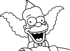The Simpsons Krusty Coloring Page Coloring Pages For Boys, Colouring Pages, Adult Coloring, Simpsons Drawings, Simpsons Art, Family Guy Cartoon, Paint And Sip, Bart Simpson, Tattoo Designs