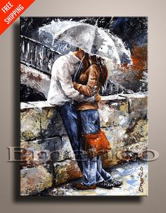 LOVE COUPLE Palette Knife PAINTING Contemporary di EmericoFineArt