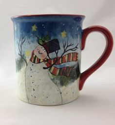 Susan Winget Enchanted Snowman and Scarf Coffee Mug Cup Christmas