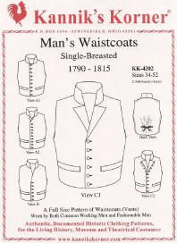 Kannik's Korner Man's Waistocats Double Breasted worn by both common working men and fashionable men c. 1790 1815 pattern KK 4202 is a great very late 18th to early 19th century patternfor historic reenactors and museum interpreters. This is a good pattern for nautical impressions.