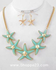Something Turquoise Blue Necklace Starfish Necklace, Blue Necklace, Turquoise Necklace, Arrow Necklace, Pendant Necklace, Statement Jewelry, Gold Jewelry, Jewelry Box, Jewellery