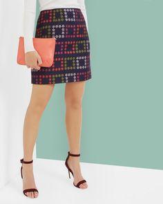 Horticultural Checked skirt - Navy   Skirts   Ted Baker UK