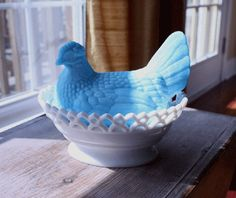 love this - milk glass hen candy dish