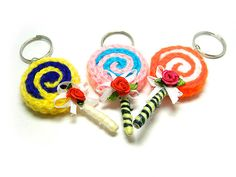 Sweet Lollipop Crochet Keychain by Haneelove on Etsy, $5.00