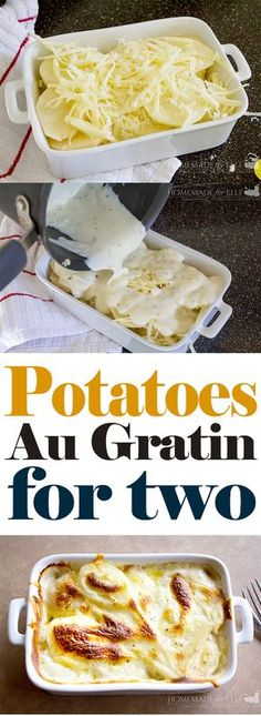 Potatoes Au Gratin for Two ⋆ Homemade for ElleYou can find Meals for two and more on our website.Potatoes Au Gratin for Two ⋆ Homemade for Elle Cooking For One, Batch Cooking, Cooking Recipes, Healthy Recipes, Cooking Oil, Cooking Bacon, Protein Recipes, Cooking Videos, Healthy Sweets
