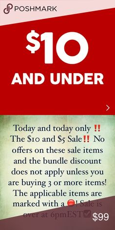 The $10 and below Sale🍃🍃 Today and today only ‼️ The $10 and $5 Sale‼️ No offers on these sale items and the bundle discount does not apply unless you are buying 3 or more items! The applicable items are marked with a 🔴! Sale is over at 6pmEST☑️ Accessories