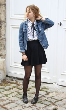 Denim jacket, White shirt with bow, Black skirt, Black tights, moccasins - Casual Outfit Cute Casual Outfits, Fall Outfits, Fashion Outfits, Womens Fashion, Fashion Trends, Red Skirt Outfits, Outfits Otoño, Fashion Fashion, Fashion Tips