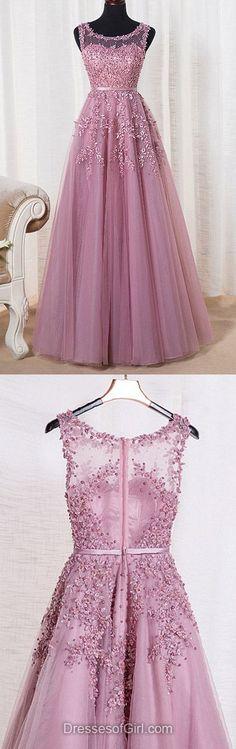 A-line Scoop Neck Tulle Floor-length Appliques Lace Graceful Prom Dress,322