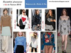 Looks estilosos com a trend sweatshirt glamourosa, para inspirar e arrasar no Inverno 2015, no blog Universo da Moda & Cia.