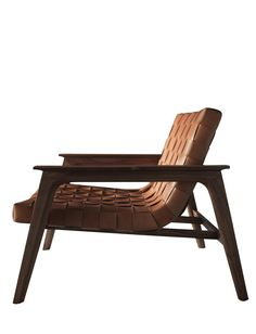 Buy Rue Lounge Chair from Designlush by New York Design Center - woven leather seat, wood, cognac