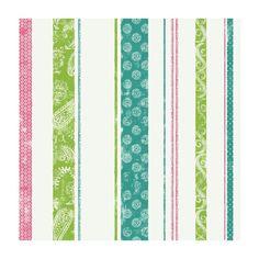 56 sq. ft. Paisley Stripe Wallpaper, Blue/Pink/Green
