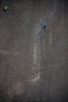 Barbara Zangerl falling near the end of Prinzip Hoffnung (5.14a). Photo by Richard Felderer