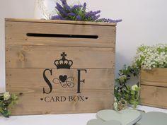 Personalised Rustic Wooden Wedding Card Post Box Vintage