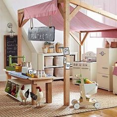 Pottery Barn Kids so cute a Farmers Market in the Playroom