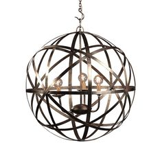 Iron Orb Chandelier.  Industrial Iron Rings and a Three way cluster body.  Candelabra light bulbs.  Chandelier vintage bulbs not included and sold separately.