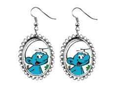 smurf Earrings silver plated oval pendant charm