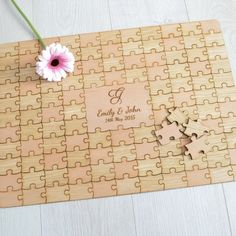 Personalised Wooden Wedding Jigsaw Puzzle Piece Guestbook - Pretty Personalised